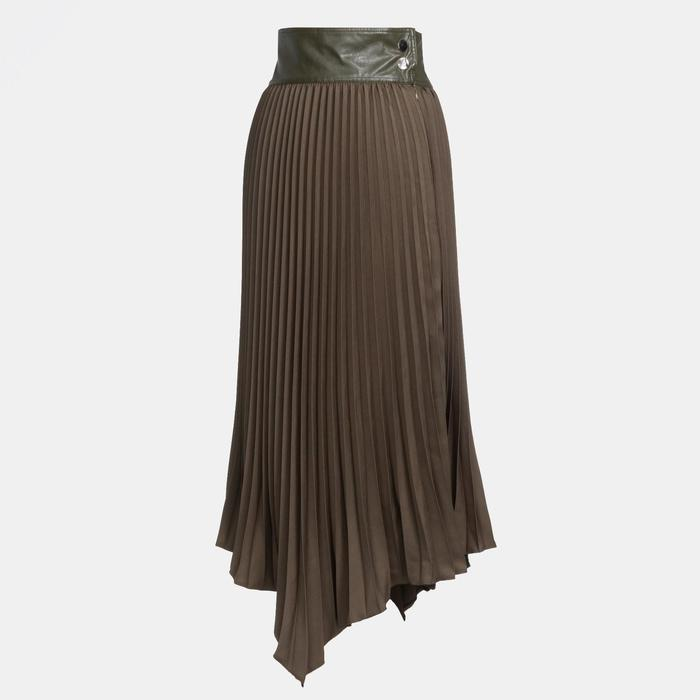 Юбка женская гофре MINAKU: Leather look, цвет оливковый, размер 46 - фото 798472408