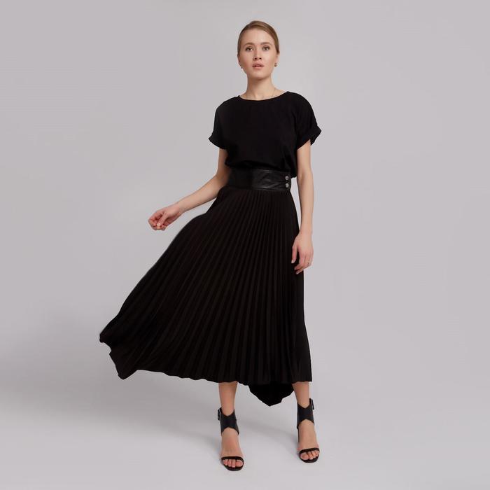Юбка женская гофре MINAKU: Leather look, цвет чёрный, размер 42 - фото 798472420