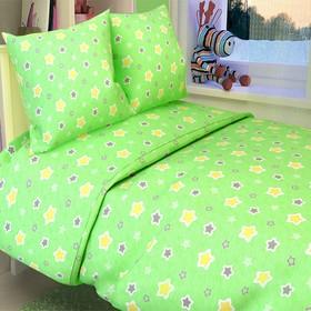 Постельное бельё Галчонок «Звёздочки» цвет зелёный, 147х112, 150х100, 40х60 - 1шт, бязь, 120±6 гр