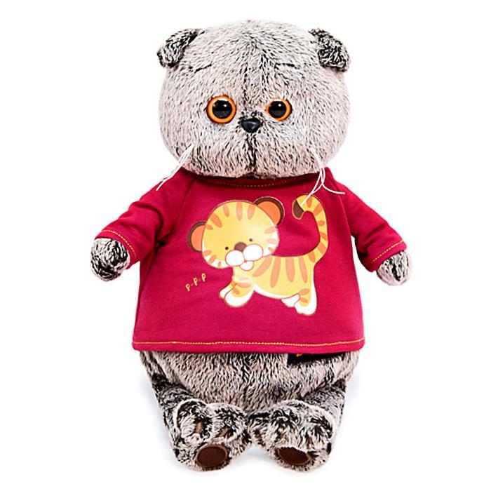 Мягкая игрушка «Басик в футболке с принтом тигренок», 30 см - фото 798473077