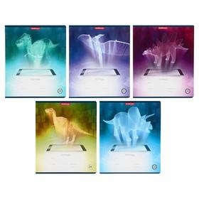 Тетрадь 24 листа в клетку Digital Dino, обложка мелованный картон, МИКС