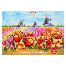 Альбом для рисования А4, 40 листов, на клею, ErichKrause «Цветущая Голландия», 120 г/м2