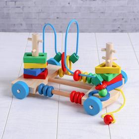 Деревянная игрушка Каталка-лабиринт «Яркие цвета», 23×17×17см