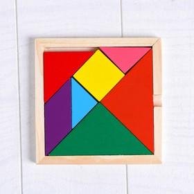 Деревянная игрушка Вкладка-пазл «Цветные фигуры», 7 деталей, 10×10×1 см