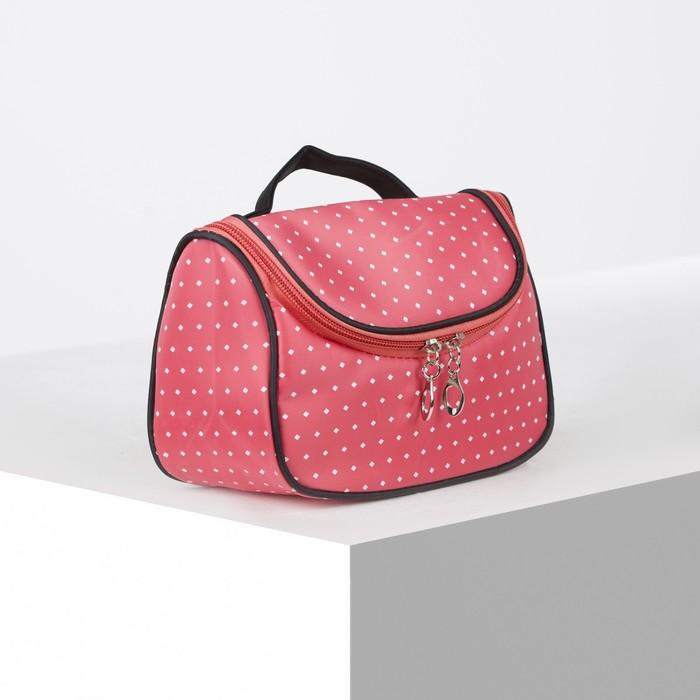 Косметичка-сумочка, отдел на молнии, цвет коралловый - фото 798474225