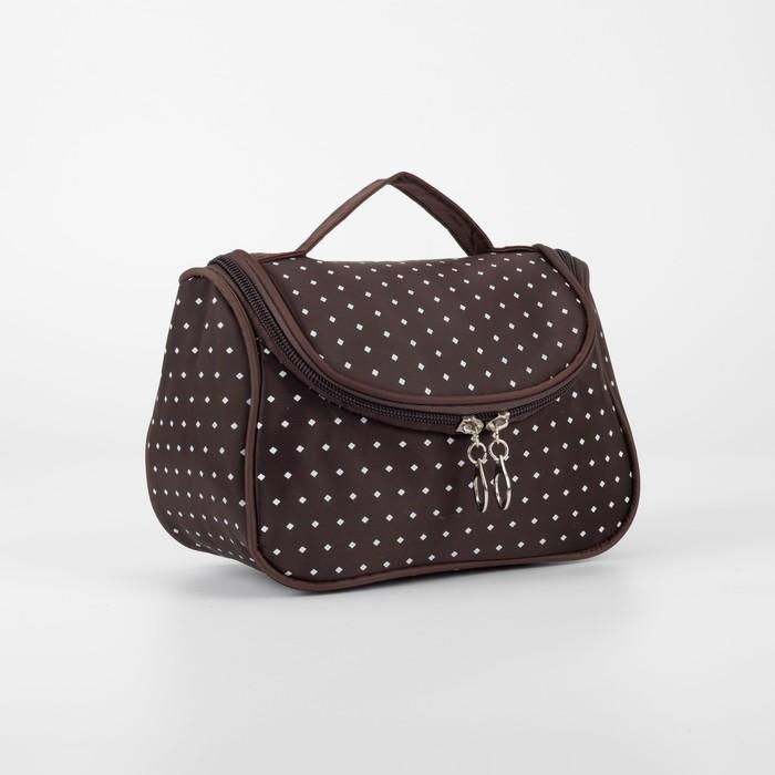 Косметичка-сумочка, отдел на молнии, цвет коричневый - фото 798474237
