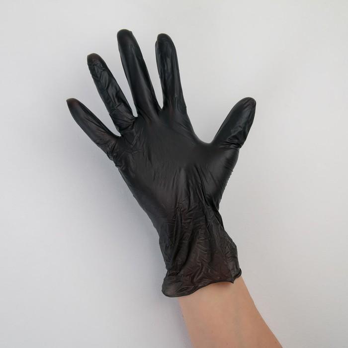 Перчатки виниловые, размер М, 100 шт/уп, 9 гр, цвет чёрный