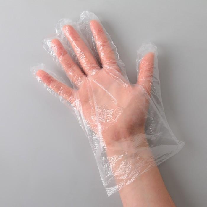 """Перчатки полиэтиленовые, размер L, """"Лайт"""", 100 шт/уп, 0,8 гр"""