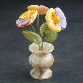 Сувенир Цветок в горшке «Анютины глазки», оникс