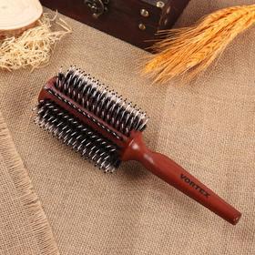 Брашинг, натуральная щетина, d = 7 см, цвет «тёмное дерево»