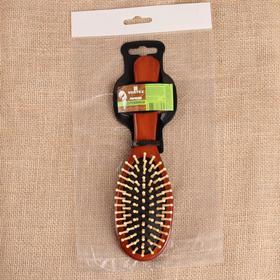 Расчёска массажная дерев овал 6*22,5см 51017 рез чёрн зубчики дер дер тёмн VORTEX