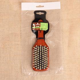 Расчёска массажная дерев широкая 6*20см 51007 рез чёрн зубчики дер дер тёмн VORTEX