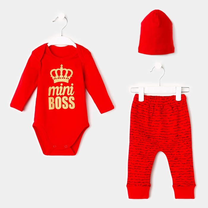 Комплект для мальчика, 3 предмета, цвет красный/босс, рост 56 см (0-1 мес) - фото 105472377