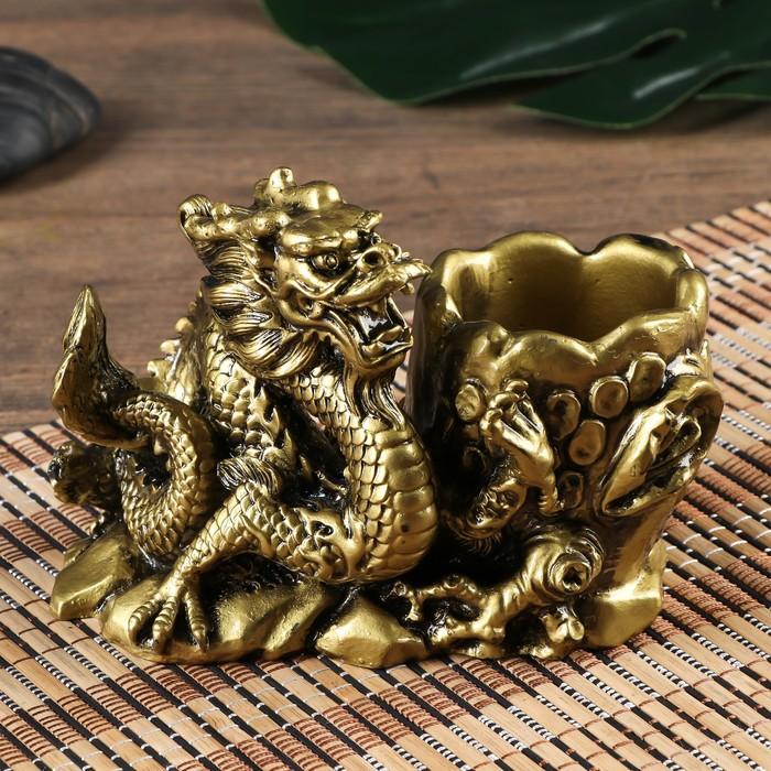 "Нэцке полистоун подставка ""Китайский дракон"" под бронзу 11х8х14,5 см - фото 798475550"