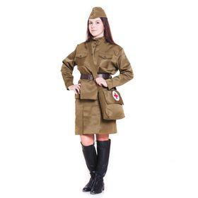 Костюм военного «Санитарочка», пилотка, гимнастёрка, ремень, юбка, сумка, р. 52-54
