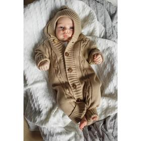 Вязаный комбинезон детский с капюшоном Pure Love, рост 86 см, цвет бежевый