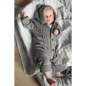 Вязаный комбинезон детский с капюшоном Pure Love, рост 56 см, цвет серый