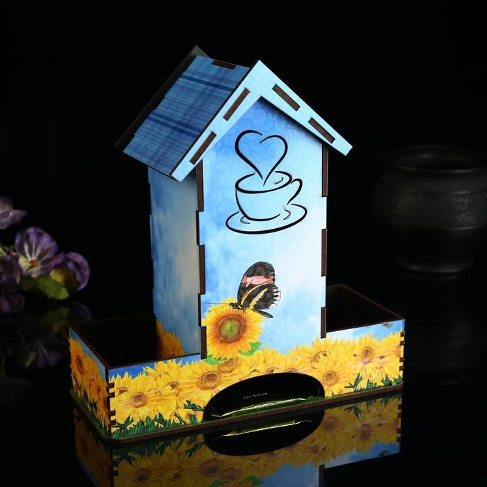 """Чайный домик с отсеками для хранения """"Желтые цветы"""" - фото 488537"""