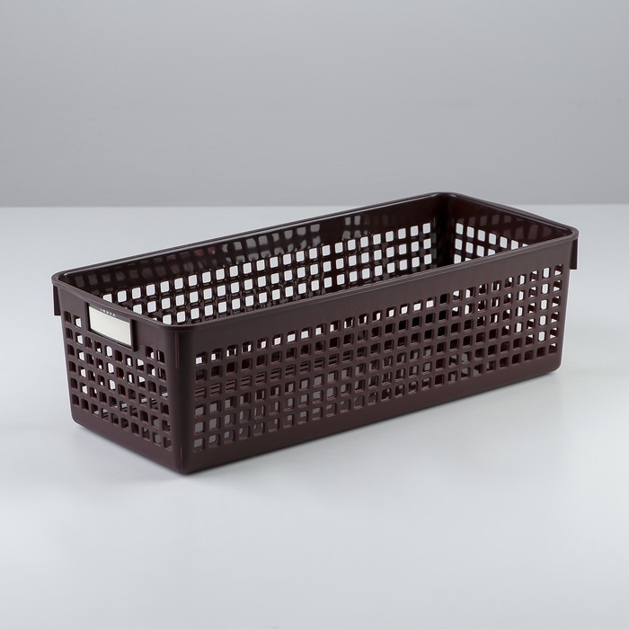 Корзина 12,8×30,1×8,8 см, цвет шоколадный