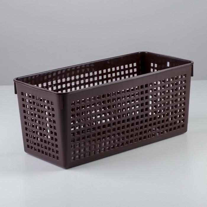 Корзина 13,3×29,1×12,5 см, цвет шоколадный