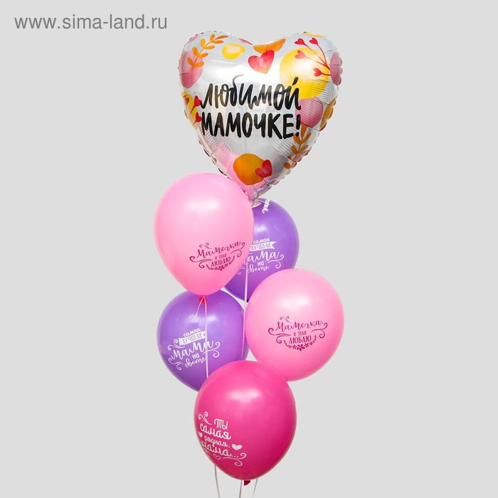 """A bouquet of balloons """"Beloved mom."""", latex, foil, 6 PCs."""