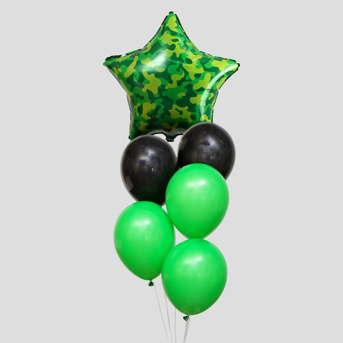 "A bouquet of balloons ""Camouflage"", latex, foil, 6 PCs."