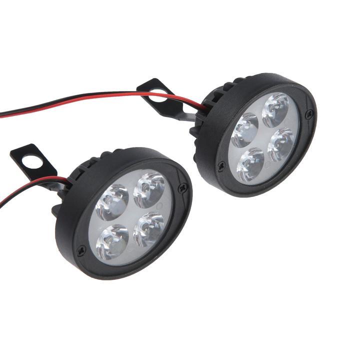 Фара cветодиодная для мототехники, 4 LED, IP67, 10 Вт, направленный свет, набор 2 шт - фото 7416235