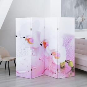 """Ширма """"Орхидея и капли воды"""", двухсторонняя, 200 × 160 см"""
