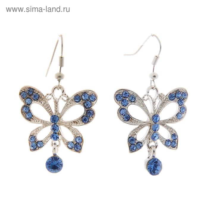 "Серьги со стразами ""Бабочки со стразами"", цвет голубой"