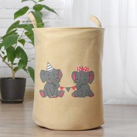 Корзинка для игрушек «Слонята» 35×35×45 см