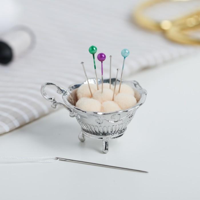 Игольница «Чашка», под серебро - фото 488598