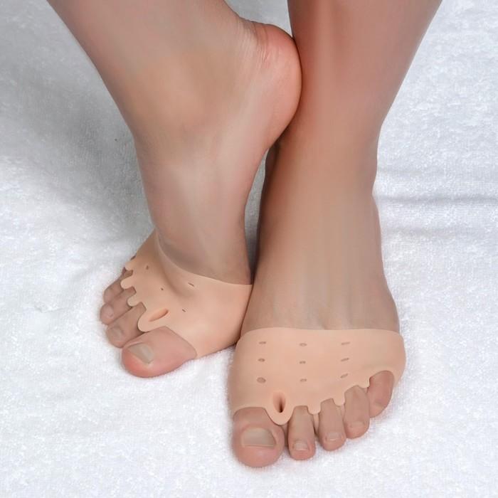 Корректоры для пальцев ног, силиконовые, дышащие, с пятью разделителями, пара, цвет бежевый