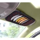 Органайзер на солнцезащитный козырек, 10 дисков, кожзам, красная строчка