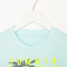 Комплект для мальчика (футболка, шорты), цвет мятный/тёмно-серый, рост 104 см (56)