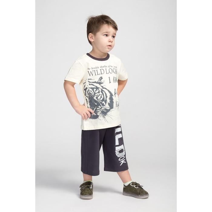 Комплект для мальчика, цвет бежевый/серый, рост 104 см (56)