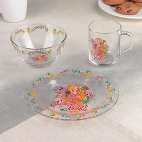 Набор посуды детский «Барби», 3 предмета