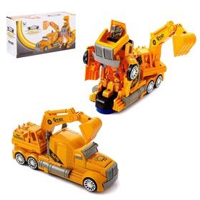 Робот-трансформер «Автобот-экскаватор», световые и звуковые эффекты, работает от батареек
