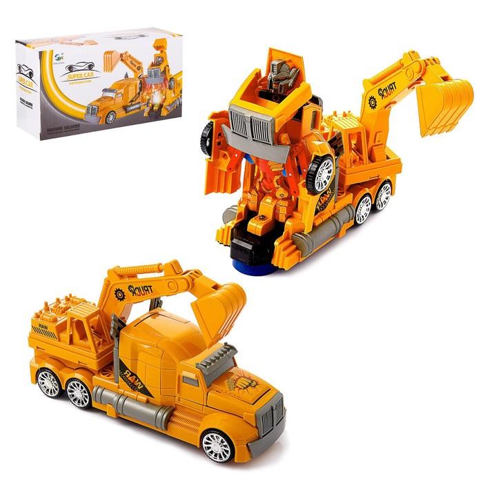 Робот-трансформер «Автобот-экскаватор», световые и звуковые эффекты, работает от батареек - фото 105504002