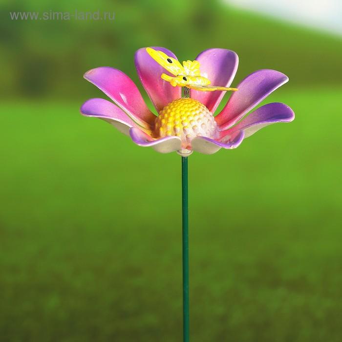 """Декоративный штекер """"Цветок с бабочкой"""" микс"""