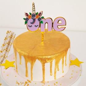 "Cake topper ""one unicorn's"" 14×11 cm"