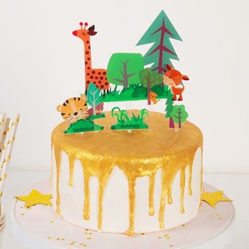 """Set of toppers for cake and cupcakes """"Forest life"""", 7 PCs"""