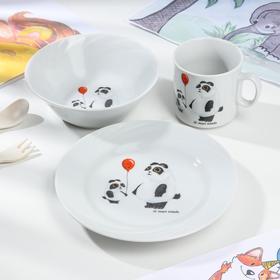 Набор посуды Добрушский фарфоровый завод «Панда», 3 предмета
