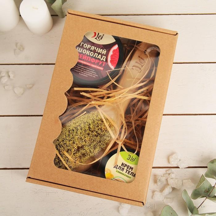 Подарочный набор: скраб грейп, крем помело, щетка для массажа щетина тампико.