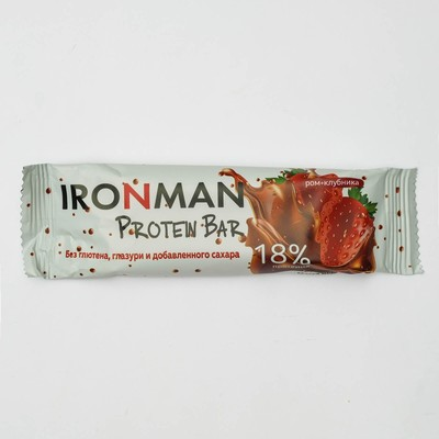 """Russia """"IRONMAN"""" Bar without coating """"18% Protein Bar"""", (Rum-strawberry) 50g"""