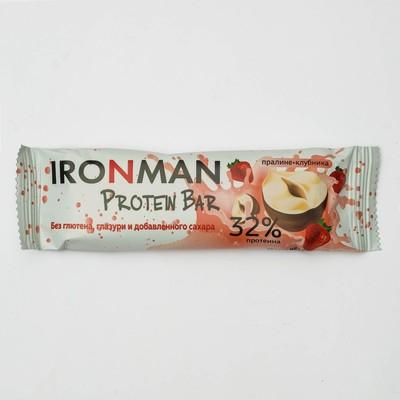 """Russia """"IRONMAN"""" Bar without coating """"32% Protein Bar"""", (Praline with strawberry) 50g"""