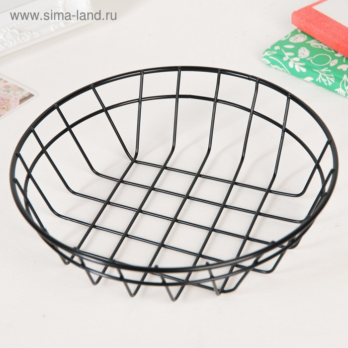 Basket for small items, 20×20×5 cm, color black