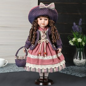 """Collectible ceramic doll """"Catherine in a dress the color of ocher, a hat and a bag"""" 40 cm"""
