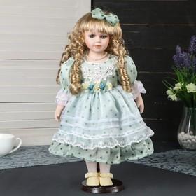 """Кукла коллекционная керамика """"Леночка в нежно-зелёном платье в горошек"""" 40 см"""
