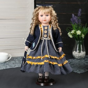 """Doll collectible ceramic """"Alice in blue dress with a bow on the head"""" 40 cm"""