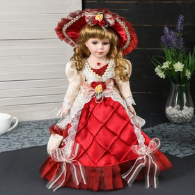 """Collectible ceramic doll """"Rosalie in beige and Burgundy dress with purse and hat"""" 40 cm"""
